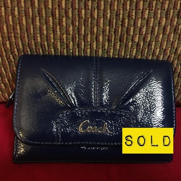 Coach Handbags - SOLD! COACH ASHLEY Cobalt Blue Patent Wallet